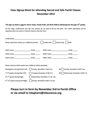 Class Signup Sheet for attending Sacred and Safe Parish