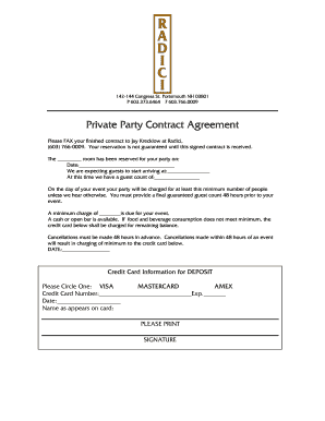 Fillable Online Private Party Contract Agreement Radici Restaurant