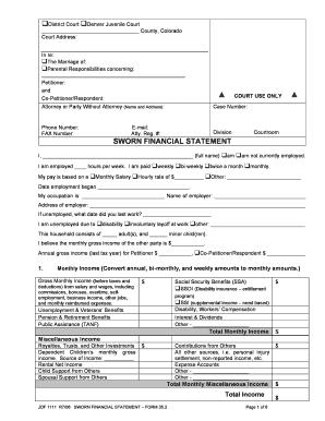 jdf 1111 ss Fillable Online JDF 1111 Sworn Financial Statement ...