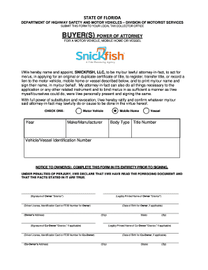 Bill of sale form florida power of attorney for a motor for State of florida department of highway safety and motor vehicles