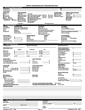 Fillable Online Uniform Underwriting and Transmittal Summary ...