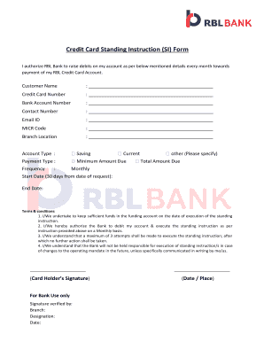 Fillable Online Credit Card Standing Instruction Si Form Rbl Bank Fax Email Print Pdffiller