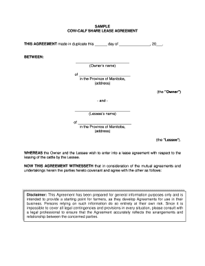 Cattle Lease Agreement Form Templates Fillable Printable