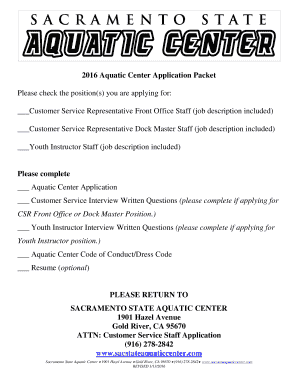2016 aquatic center application packet - Customer Service Job Description For Resume