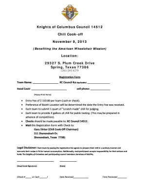 KC Chili Cook Off Registration Form Template JG DDM - knights14512