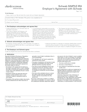 Schwab SIMPLE IRA Employers Agreement with Schwab
