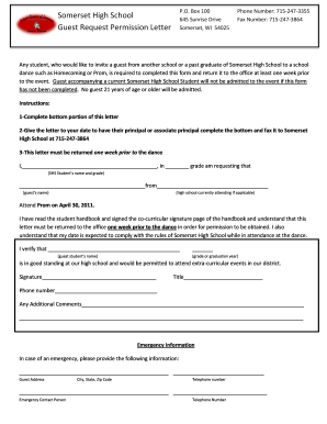 Guest request permission letter - Somerset High School - somerset k12 wi