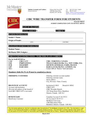 Fillable Online Mcmaster Cibc Wire Transfer Form For