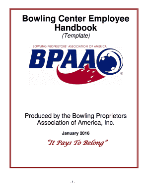 Bowling Center Employee Handbook - The Bowling Proprietors