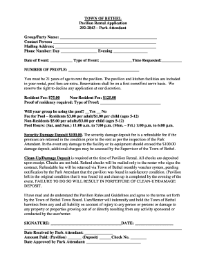 TOWN OF BETHEL Pavilion Rental Application 292-2843 Park - town bethel ny