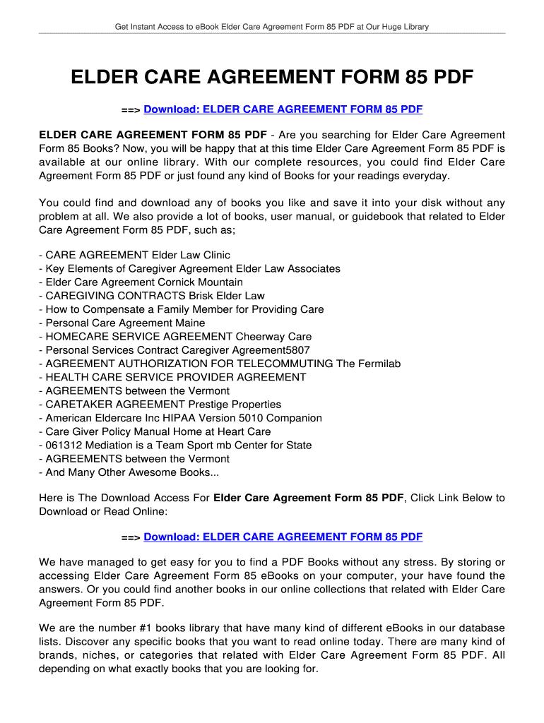 Elder Care Agreement Form 85 Fill Online Printable