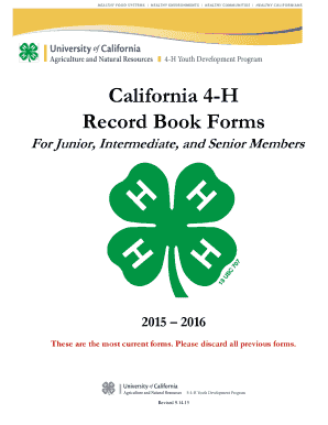 Fillable Online cebutte ucanr California 4-H Record Book Forms ...