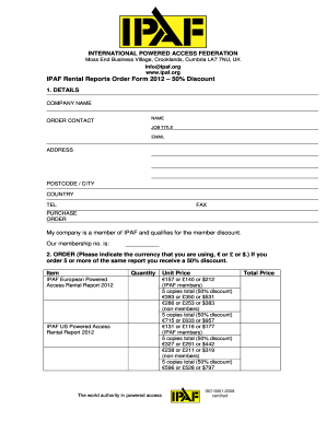 org IPAF Rental Reports Order Form 2012 50% Discount 1 - ipaf