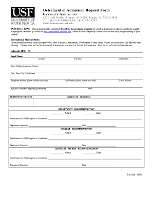 Deferment of Admission Request Form - usfedu Fill Online, Printable