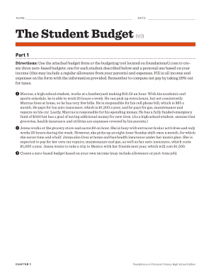 NAME DATE The Student Budget - Weebly