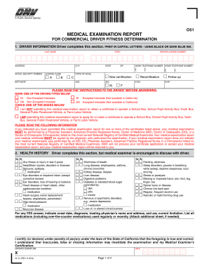 O51 MEDICAL EXAMINATION REPORT FOR COMMERCIAL DRIVER - dot-physical
