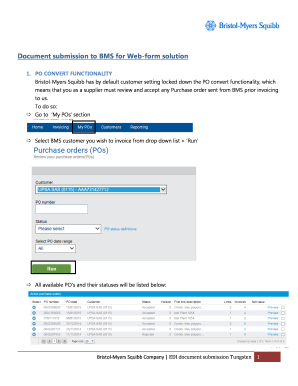 Document submission to BMS for Web-form solution