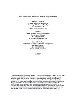 thesis statement welfare reform child care