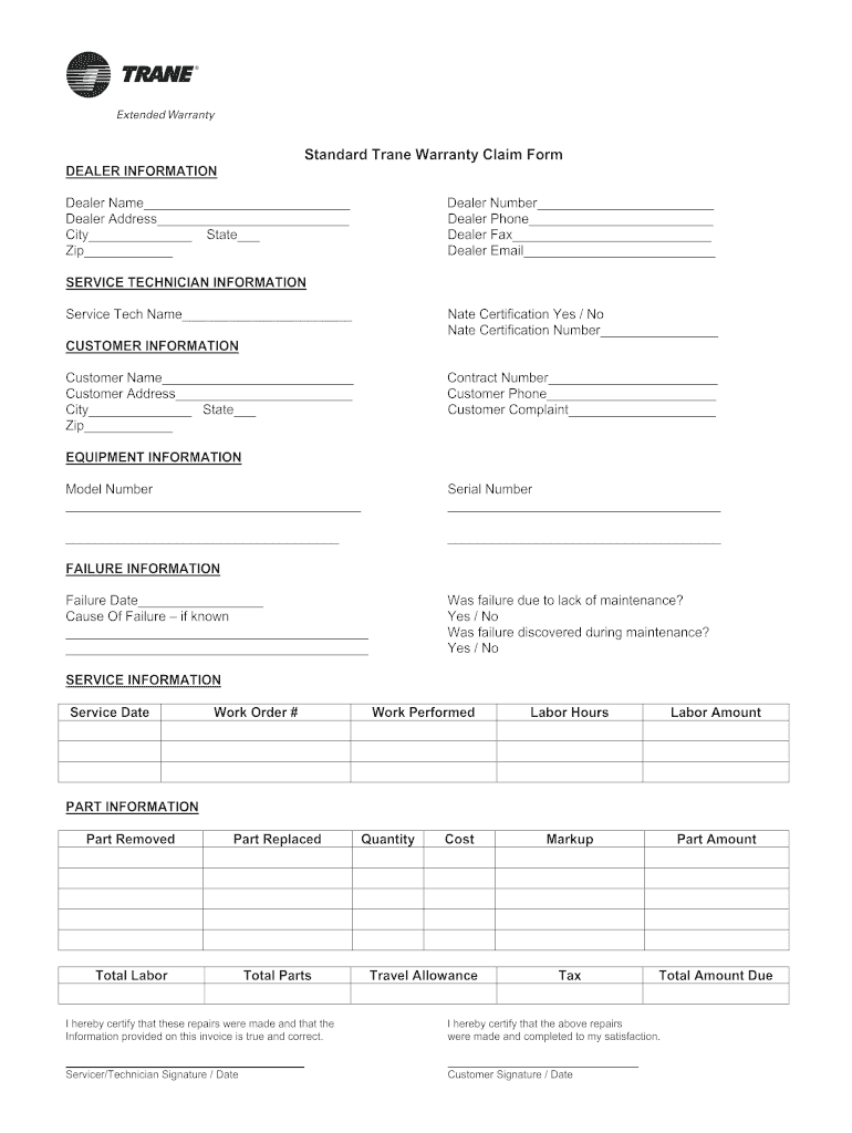 Fillable Online Standard Trane Warranty Claim Form Fax Email