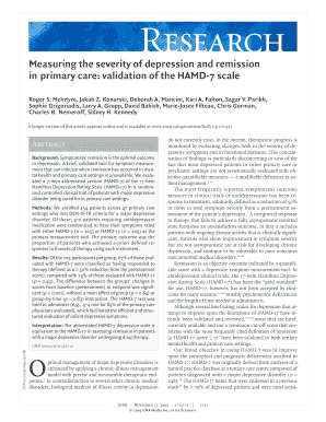 Measuring the severity of depression and remission
