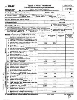 Form Return of Private Foundation 990 PF OMB No 15450052 or Section 4947(a)(1) Nonexempt Charitable 'Crust Treated as a Private Foundation Department of the Treasury 2010 Note