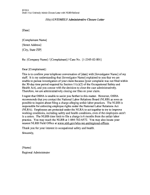 Fillable Online 11c UNTIMELY Administrative Closure Letter ...