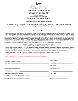 L Parental Consent Form - California Yacht Club