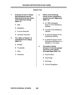 TEACHER CERTIFICATION STUDY GUIDE Sample Test 1 Divisions