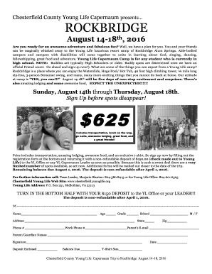 Fillable Online chesterfield younglife Capernaum Flyer Info