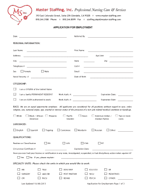 fillable online application for employment master staffing fax