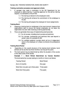 Training Nomination Bond And Surety   CiteHR  Employee Training Contract Sample
