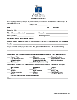 fillable online summit therapy speech general medical history form