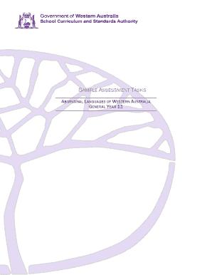 Aboriginal Languages Of WA General Y11 Sample Assessment Tasks WACE 2015  16DOCX