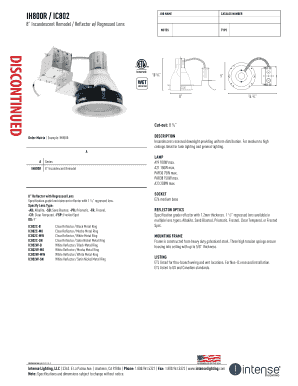 IH800R / IC802 JOB NAME CATALOG NUMBER 8 Incandescent Remodel / Reflector w/ Regressed Lens NOTES TYPE DISCONTINUED 10 3/4 9 WET LOCATION 8 14 3/4 Cutout: 8 1/4 DESCRIPTION Incandescent recessed downlight providing uniform distribution