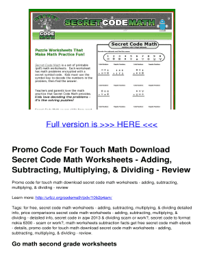 fillable online promo code for touch math download secret code math  fill online
