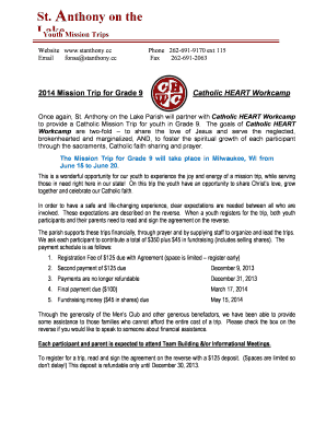 Fillable Online stanthony CatholicHeartMission Trip Agreement