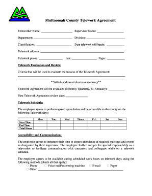 Fillable Online Multnomah County Telework Agreement Osia Fax Email