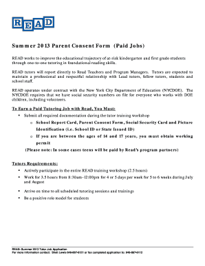 Summer 2013 Parent Consent Form (Paid Jobs)