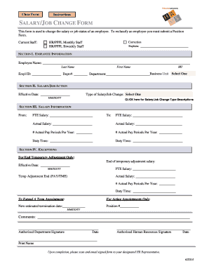 salary change form template