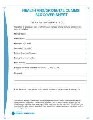 Claims Fax Sheet - Blue Cross Canada