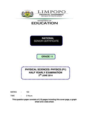 Limpopo Economics Grade 11 Question Paper Cover Page - Fill