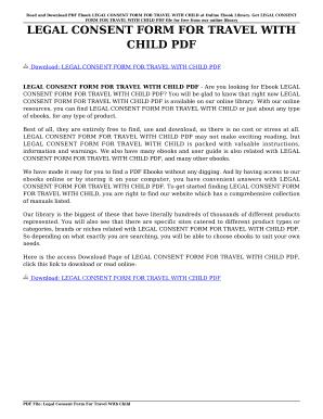 free child travel consent form pdf
