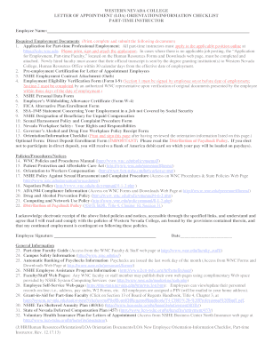 LETTER OF APPOINTMENT (LOA) ORIENTATIONINFORMATION CHECKLIST - wnc