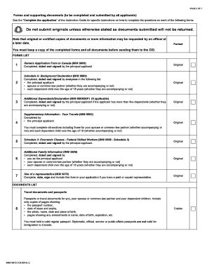 Imm 5612e Document Checklist - Permanent Residence - Federal Skilled Worker Class