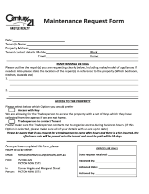 request email for repair and maintenance - Fillable & Printable