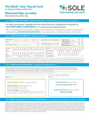 fill online - Visa Payroll Card