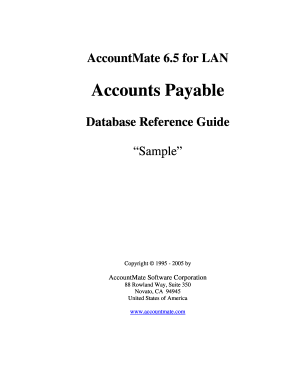 AccountMate 6.5 for LAN AP Database Reference Guide. AccountMate 6.5 for LAN Technical Manual