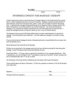 Massage Client Waiver Form