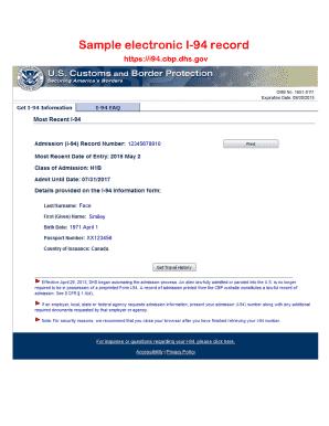 Sample Form bI-94b Fill Online, Printable, Fillable, Blank