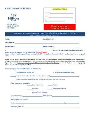 Fillable Online Credit Card Authorization Form - Hilton Albany Fax ...